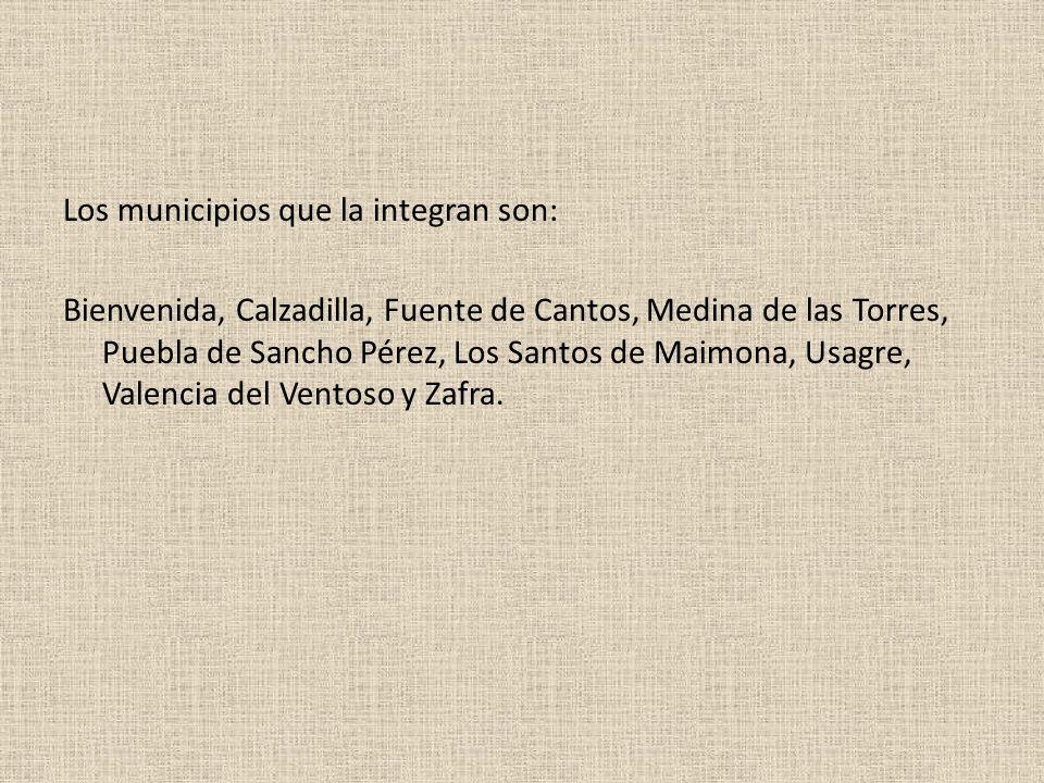 Los municipios que la integran son: Bienvenida, Calzadilla, Fuente de Cantos, Medina de las Torres, Puebla de Sancho Pérez, Los Santos de Maimona, Usagre, Valencia del Ventoso y Zafra.