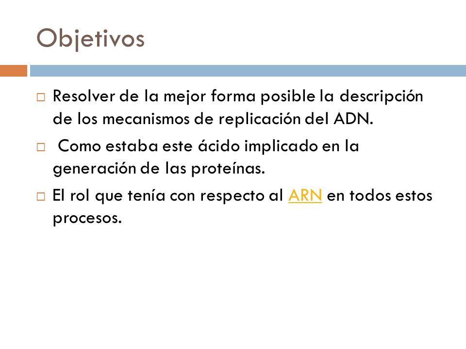 Objetivos Resolver de la mejor forma posible la descripción de los mecanismos de replicación del ADN.