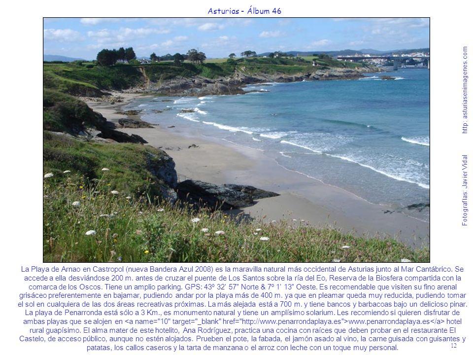 La Playa de Arnao en Castropol (nueva Bandera Azul 2008) es la maravilla natural más occidental de Asturias junto al Mar Cantábrico. Se accede a ella desviándose 200 m. antes de cruzar el puente de Los Santos sobre la ría del Eo, Reserva de la Biosfera compartida con la comarca de los Oscos. Tiene un amplio parking. GPS: 43º 32' 57 Norte & 7º 1' 13 Oeste. Es recomendable que visiten su fino arenal grisáceo preferentemente en bajamar, pudiendo andar por la playa más de 400 m. ya que en pleamar queda muy reducida, pudiendo tomar el sol en cualquiera de las dos áreas recreativas próximas. La más alejada está a 700 m. y tiene bancos y barbacoas bajo un delicioso pinar. La playa de Penarronda está sólo a 3 Km., es monumento natural y tiene un amplísimo solarium. Les recomiendo si quieren disfrutar de ambas playas que se alojen en <a name= 10 target= _blank href= http://www.penarrondaplaya.es >www.penarrondaplaya.es</a> hotel rural guapísimo. El alma mater de este hotelito, Ana Rodríguez, practica una cocina con raíces que deben probar en el restaurante El Castelo, de acceso público, aunque no estén alojados. Prueben el pote, la fabada, el jamón asado al vino, la carne guisada con guisantes y patatas, los callos caseros y la tarta de manzana o el arroz con leche con un toque muy personal.