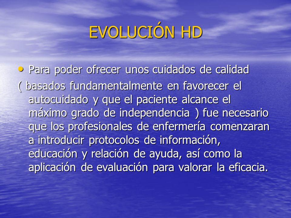 EVOLUCIÓN HD Para poder ofrecer unos cuidados de calidad
