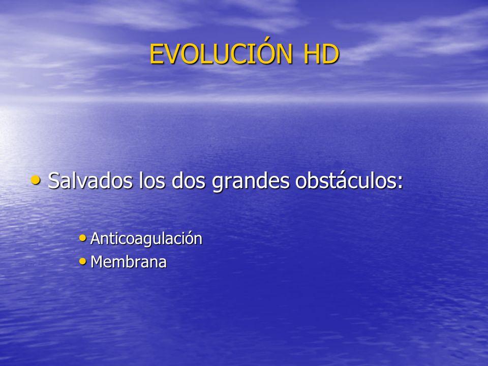 EVOLUCIÓN HD Salvados los dos grandes obstáculos: Anticoagulación