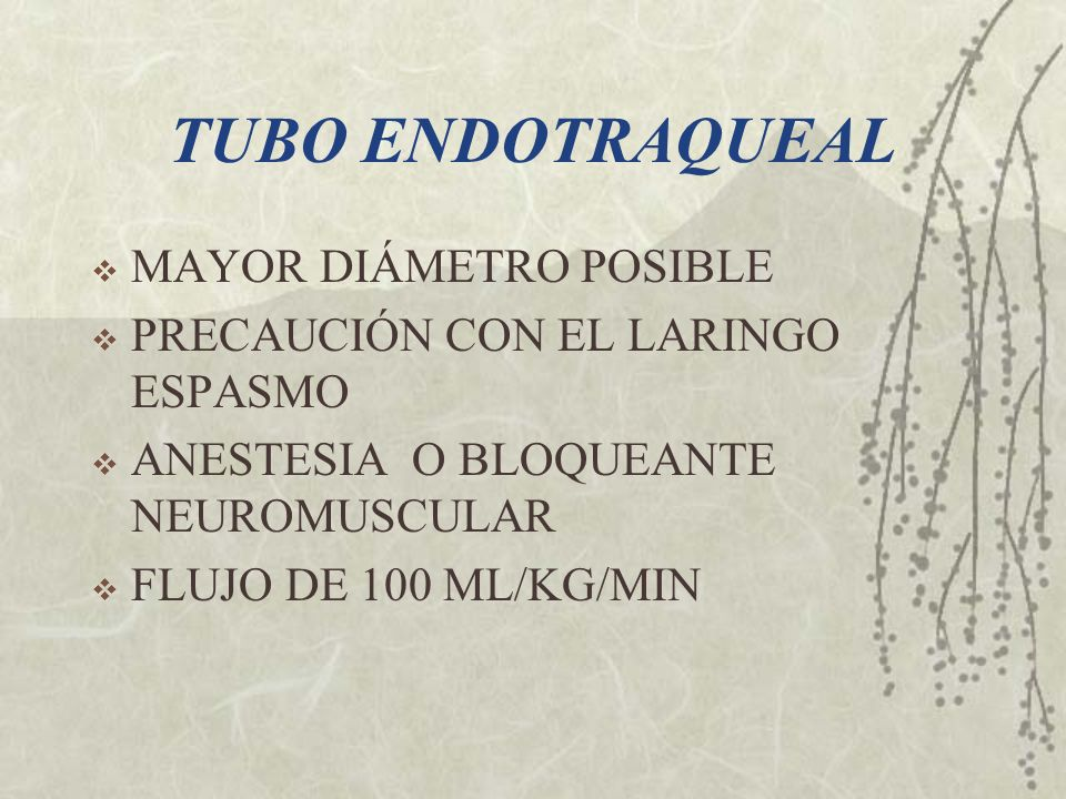 TUBO ENDOTRAQUEAL MAYOR DIÁMETRO POSIBLE