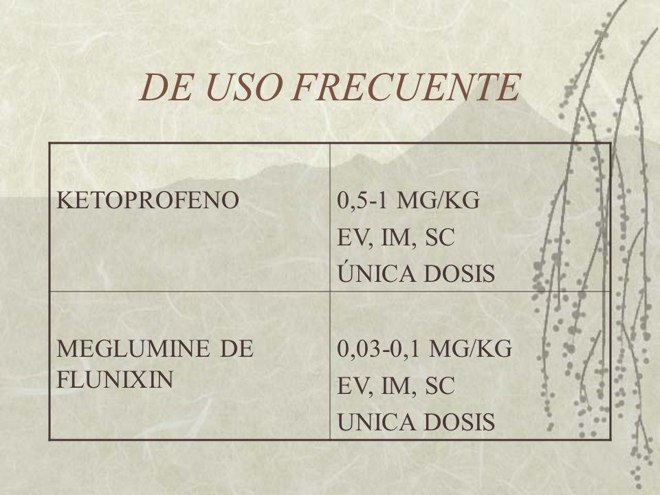 DE USO FRECUENTE KETOPROFENO 0,5-1 MG/KG EV, IM, SC ÚNICA DOSIS