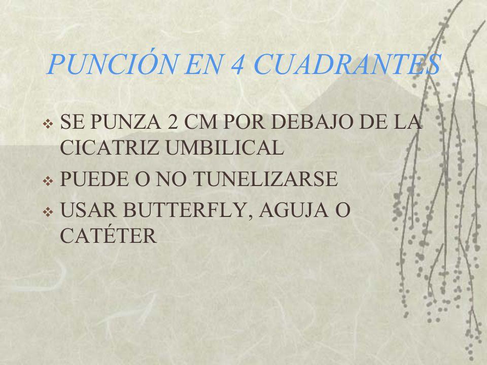 PUNCIÓN EN 4 CUADRANTES SE PUNZA 2 CM POR DEBAJO DE LA CICATRIZ UMBILICAL. PUEDE O NO TUNELIZARSE.
