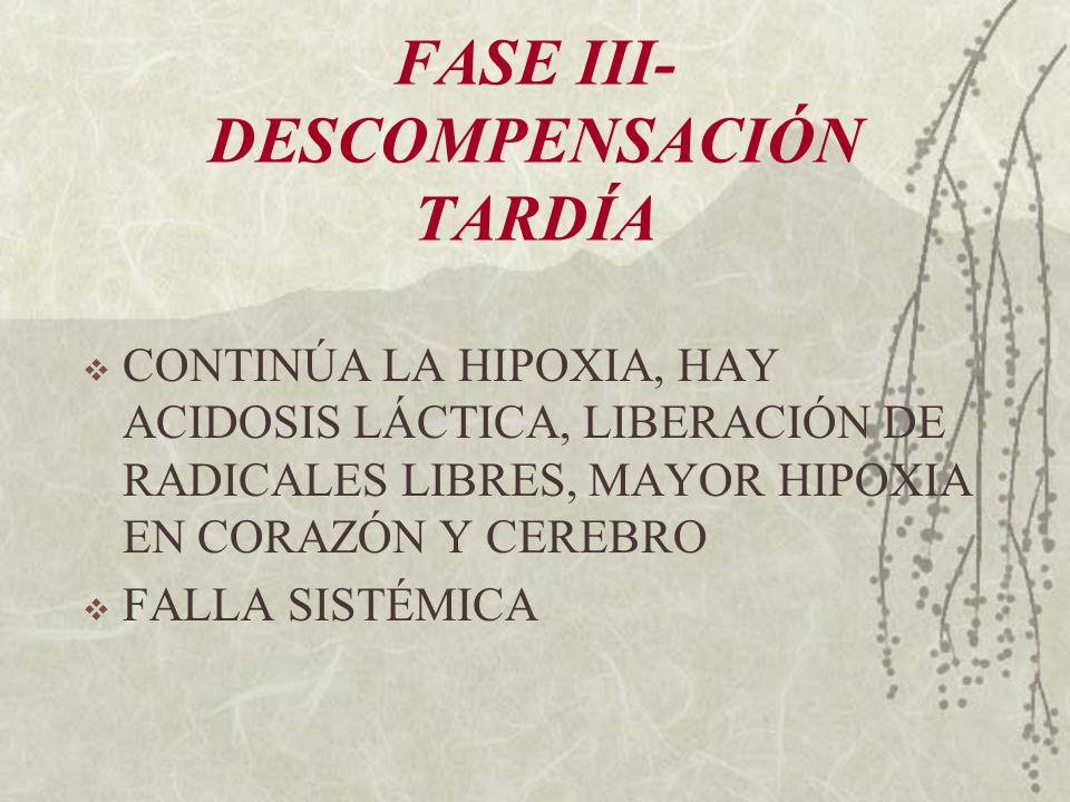 FASE III-DESCOMPENSACIÓN TARDÍA