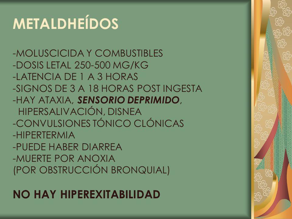 METALDHEÍDOS NO HAY HIPEREXITABILIDAD -MOLUSCICIDA Y COMBUSTIBLES