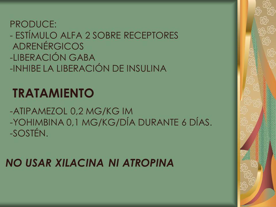 TRATAMIENTO NO USAR XILACINA NI ATROPINA PRODUCE: