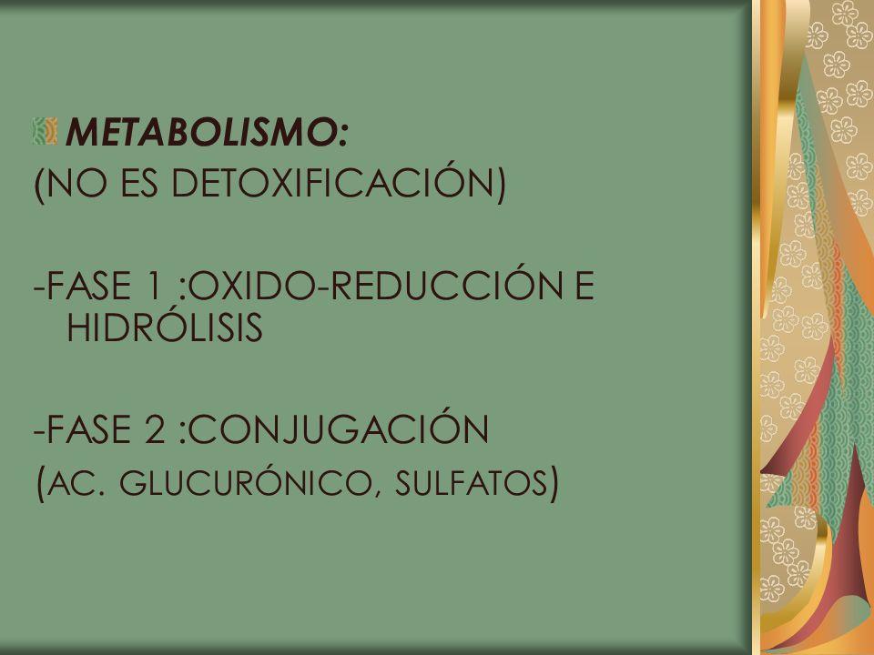 METABOLISMO:(NO ES DETOXIFICACIÓN) -FASE 1 :OXIDO-REDUCCIÓN E HIDRÓLISIS.