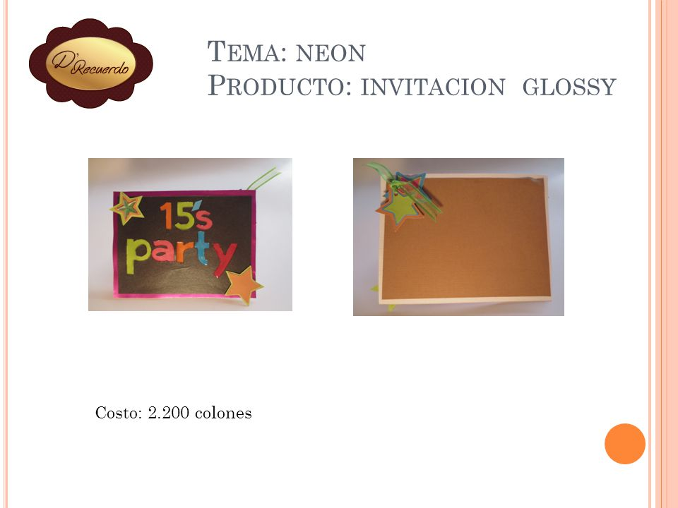 Tema: neon Producto: invitacion glossy