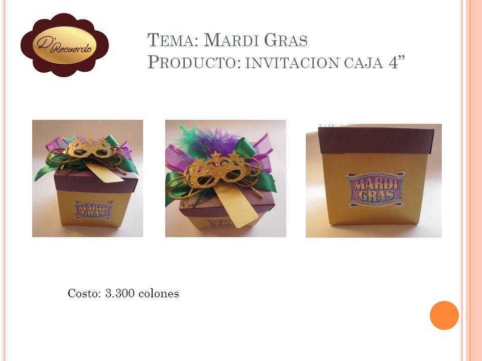 Tema: Mardi Gras Producto: invitacion caja 4