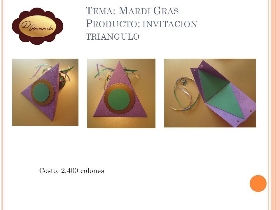 Tema: Mardi Gras Producto: invitacion triangulo