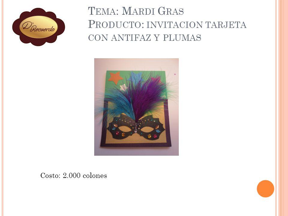 Tema: Mardi Gras Producto: invitacion tarjeta con antifaz y plumas
