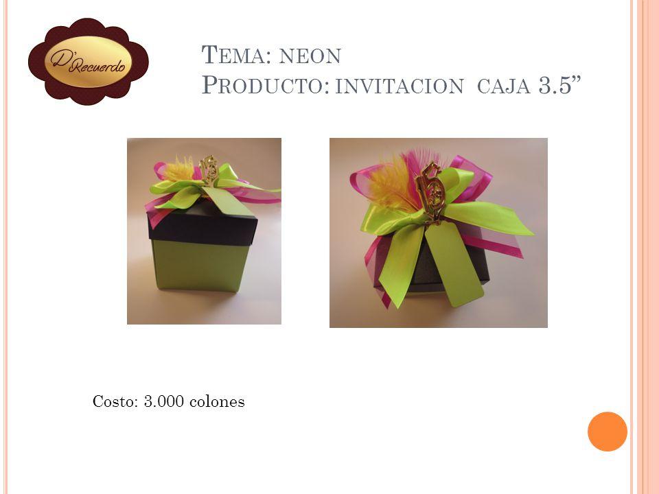 Tema: neon Producto: invitacion caja 3.5
