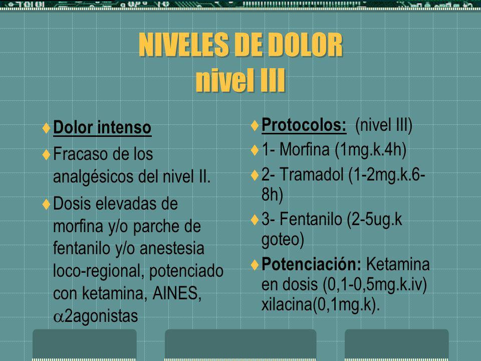 NIVELES DE DOLOR nivel III