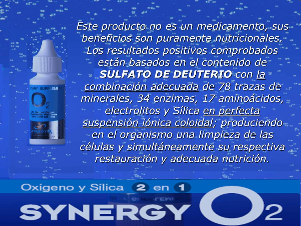 Este producto no es un medicamento, sus beneficios son puramente nutricionales.