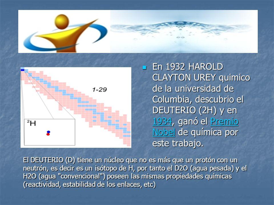 En 1932 HAROLD CLAYTON UREY quimico de la universidad de Columbia, descubrio el DEUTERIO (2H) y en 1934, ganó el Premio Nobel de química por este trabajo.