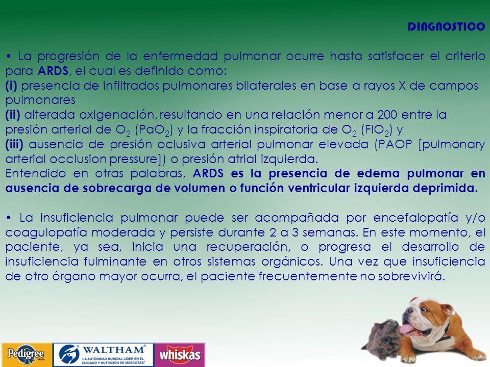 DIAGNOSTICO • La progresión de la enfermedad pulmonar ocurre hasta satisfacer el criterio para ARDS, el cual es definido como:
