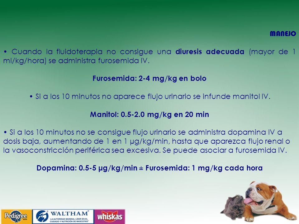 Furosemida: 2-4 mg/kg en bolo