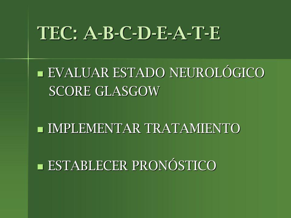 TEC: A-B-C-D-E-A-T-E EVALUAR ESTADO NEUROLÓGICO SCORE GLASGOW