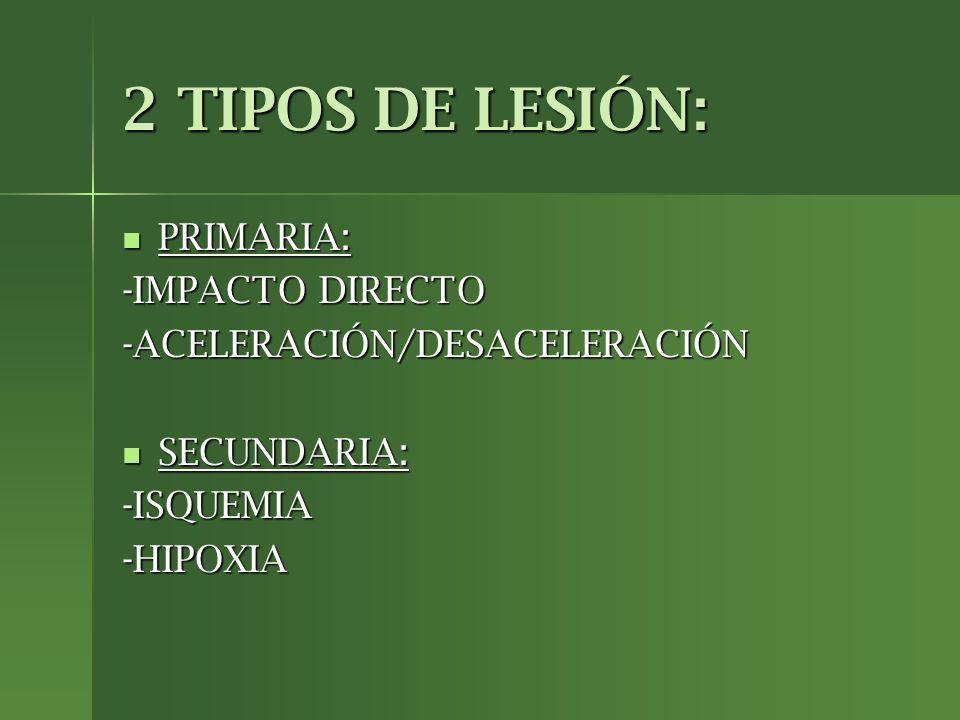 2 TIPOS DE LESIÓN: PRIMARIA: -IMPACTO DIRECTO