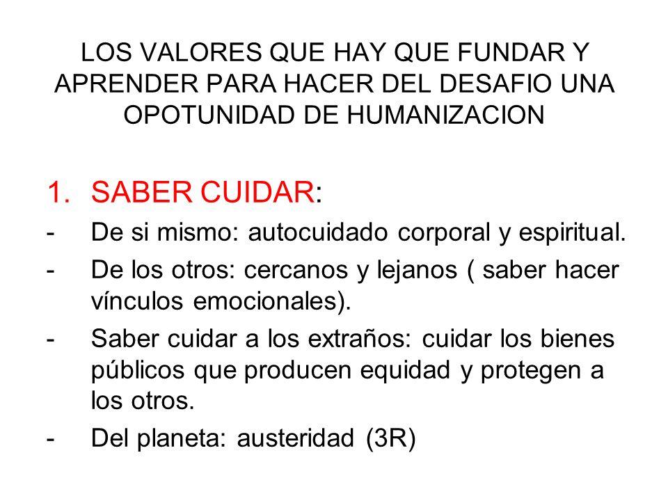 LOS VALORES QUE HAY QUE FUNDAR Y APRENDER PARA HACER DEL DESAFIO UNA OPOTUNIDAD DE HUMANIZACION