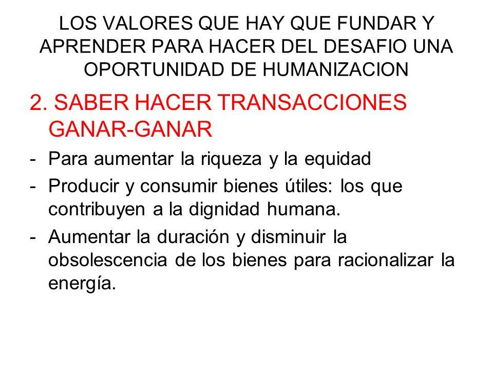 2. SABER HACER TRANSACCIONES GANAR-GANAR