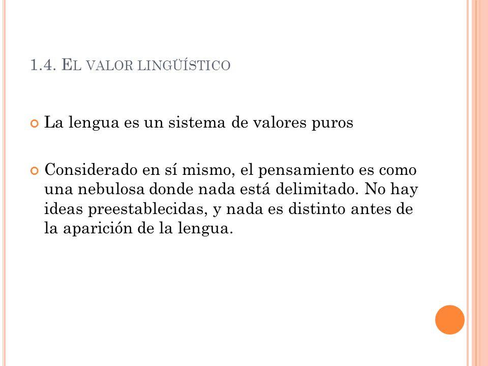 1.4. El valor lingüístico La lengua es un sistema de valores puros.
