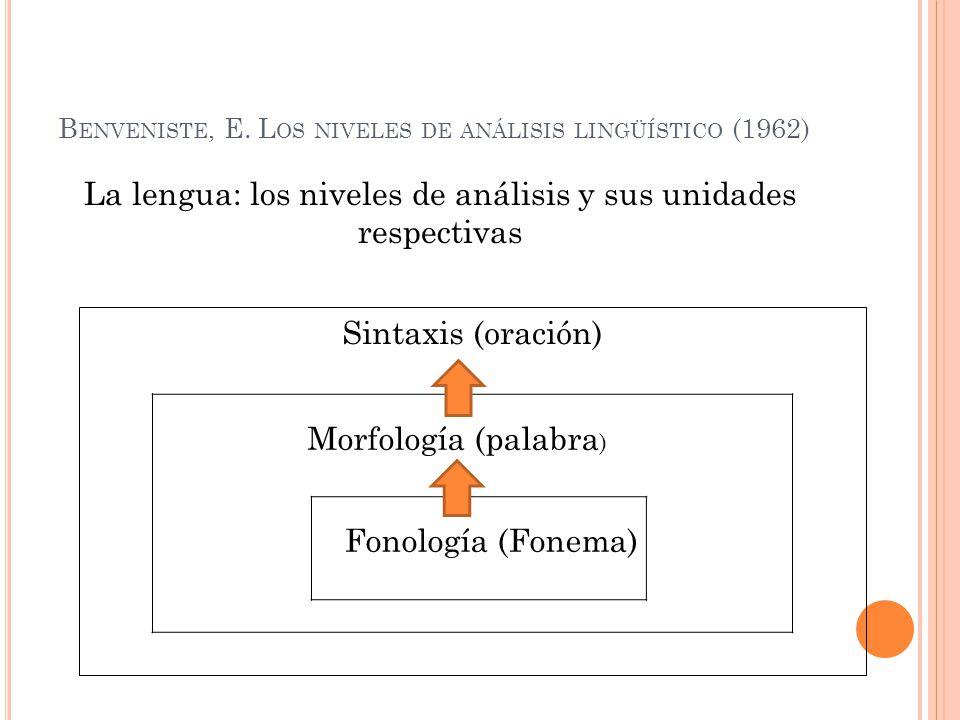 Benveniste, E. Los niveles de análisis lingüístico (1962)
