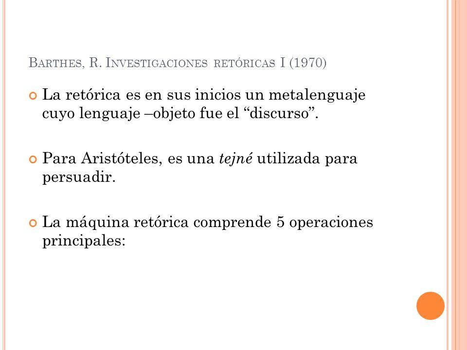 Barthes, R. Investigaciones retóricas I (1970)