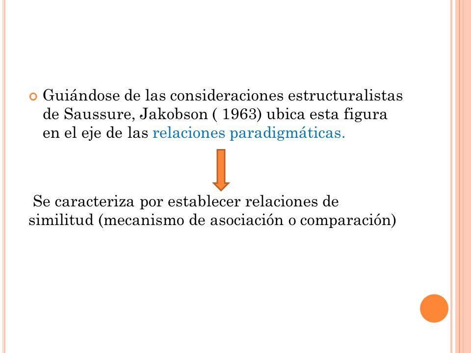 Guiándose de las consideraciones estructuralistas de Saussure, Jakobson ( 1963) ubica esta figura en el eje de las relaciones paradigmáticas.