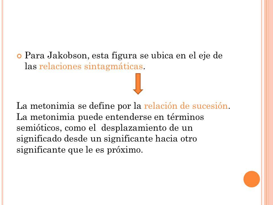 Para Jakobson, esta figura se ubica en el eje de las relaciones sintagmáticas.