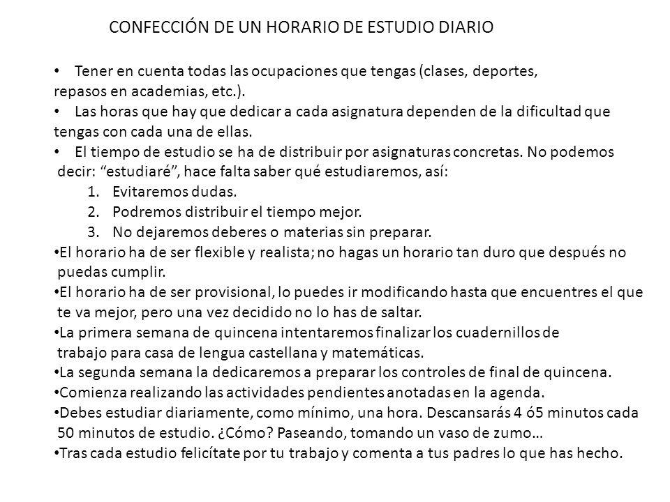 CONFECCIÓN DE UN HORARIO DE ESTUDIO DIARIO