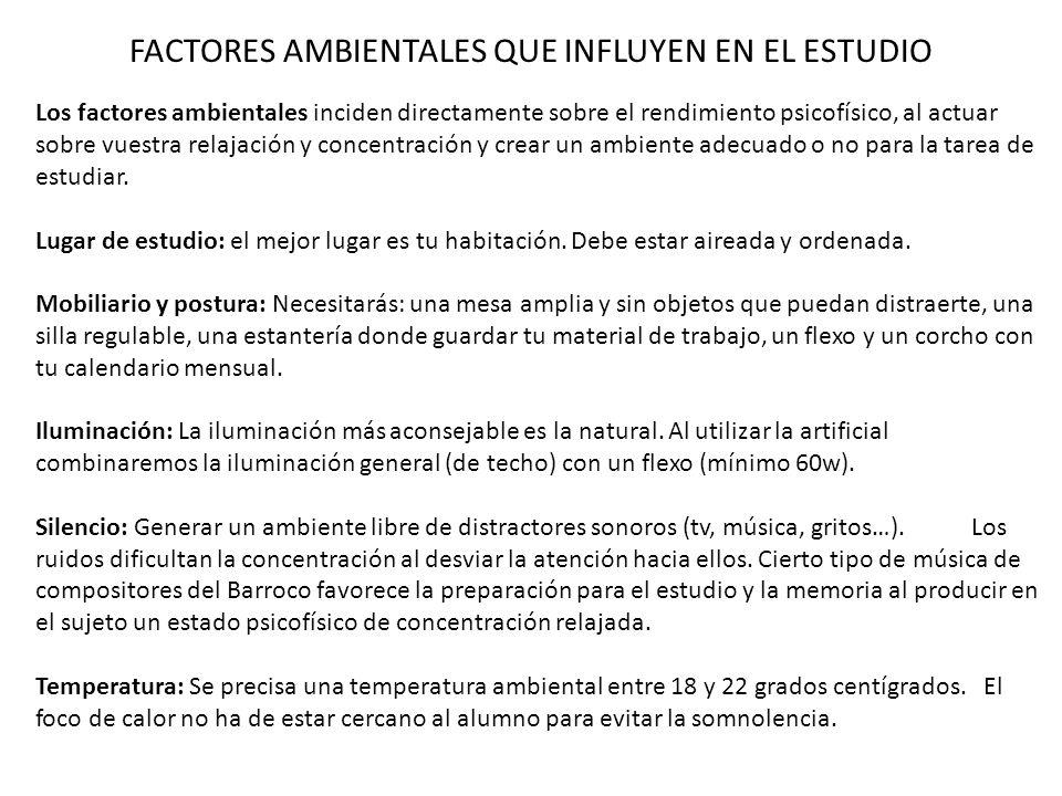 FACTORES AMBIENTALES QUE INFLUYEN EN EL ESTUDIO