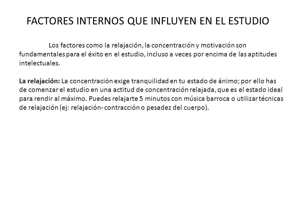 FACTORES INTERNOS QUE INFLUYEN EN EL ESTUDIO