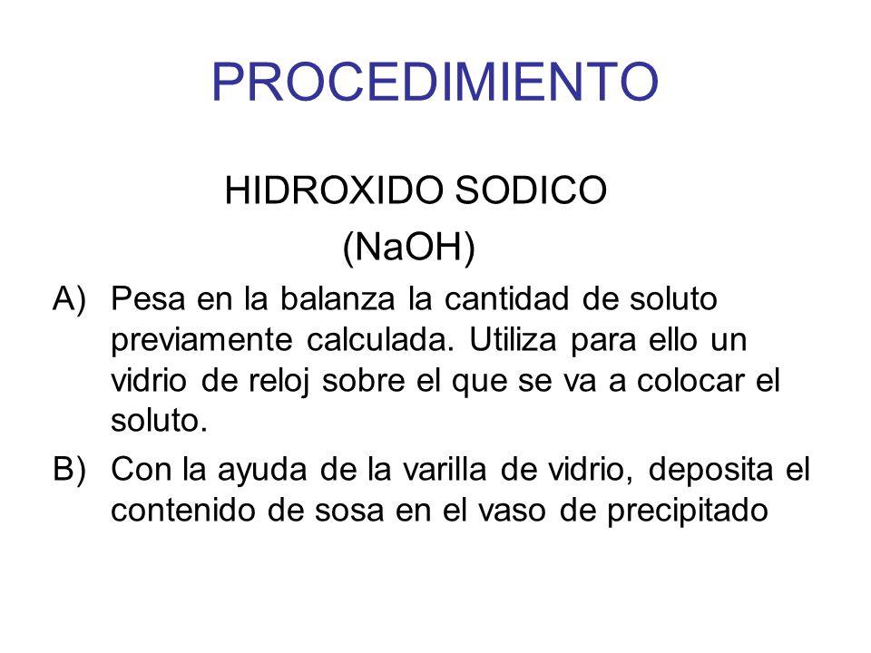 PROCEDIMIENTO HIDROXIDO SODICO (NaOH)