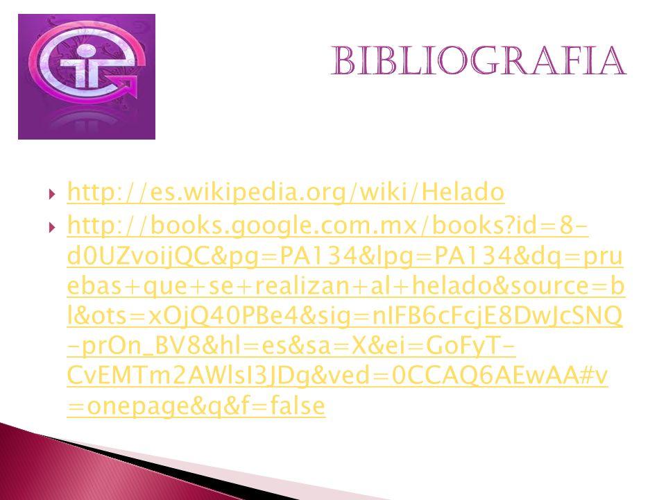 BIBLIOGRAFIA http://es.wikipedia.org/wiki/Helado