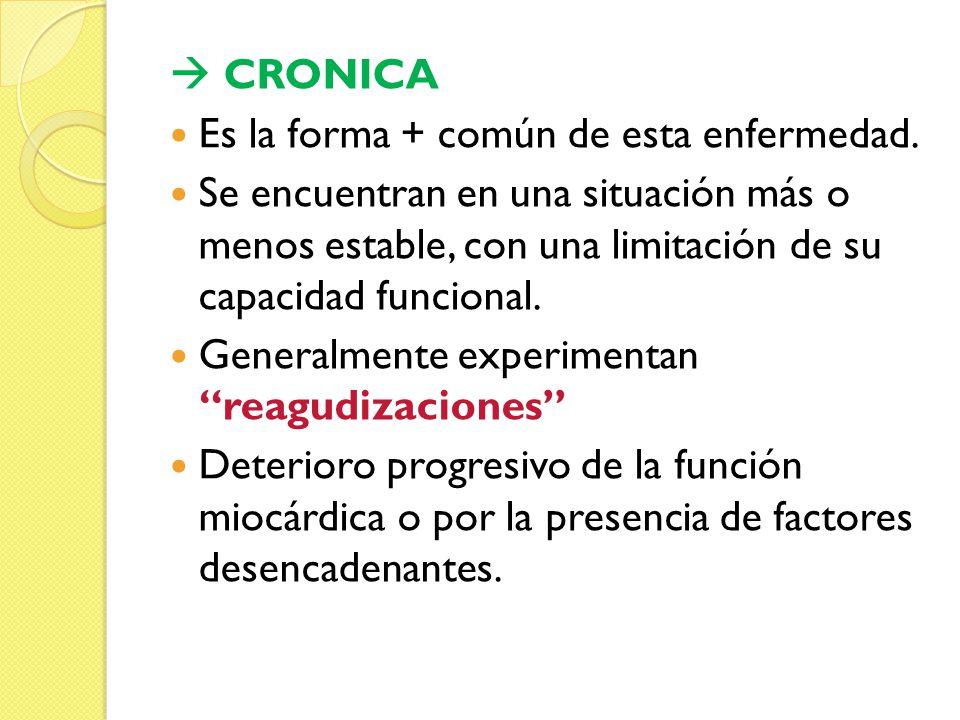  CRONICA Es la forma + común de esta enfermedad.