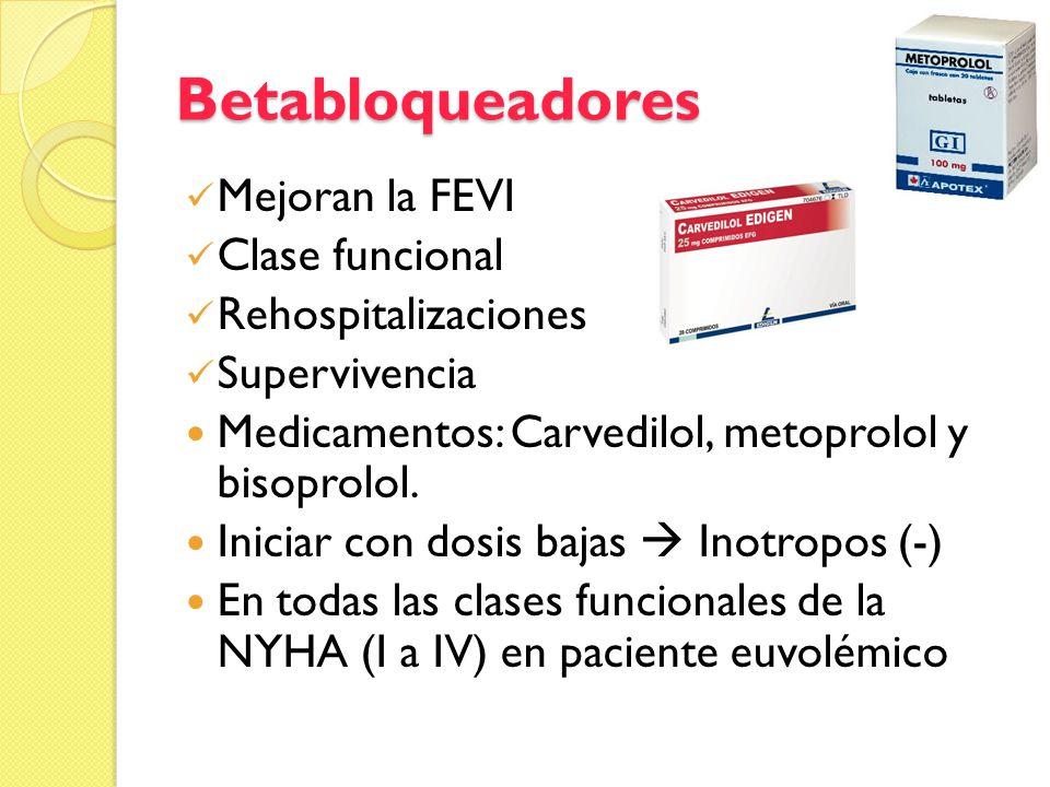 Betabloqueadores Mejoran la FEVI Clase funcional Rehospitalizaciones