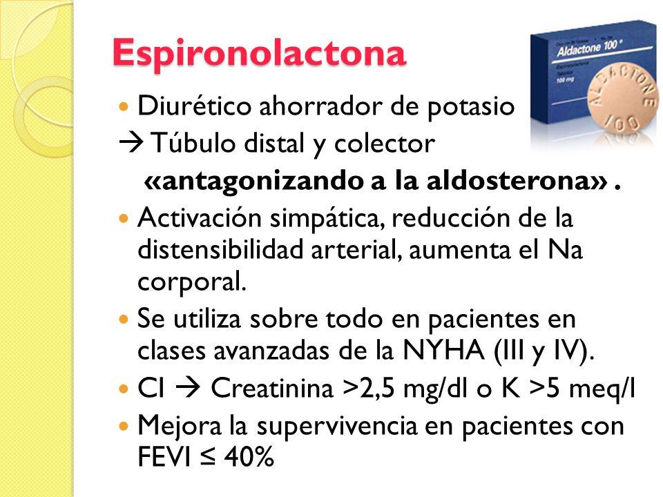 «antagonizando a la aldosterona» .