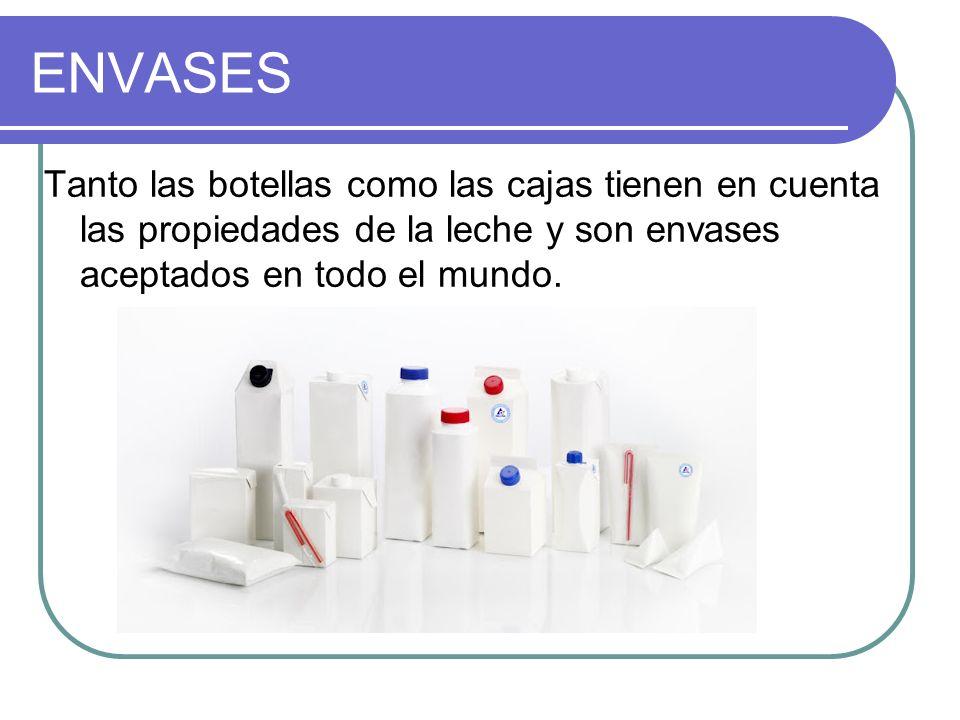 ENVASES Tanto las botellas como las cajas tienen en cuenta las propiedades de la leche y son envases aceptados en todo el mundo.