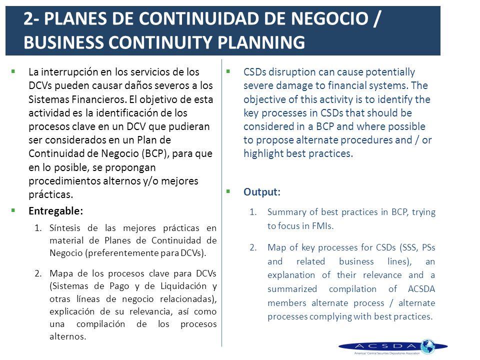 2- PLANES DE CONTINUIDAD DE NEGOCIO / BUSINESS CONTINUITY PLANNING