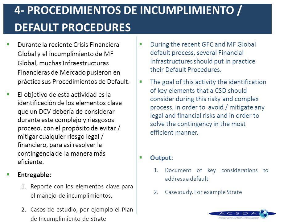 4- PROCEDIMIENTOS DE INCUMPLIMIENTO / DEFAULT PROCEDURES