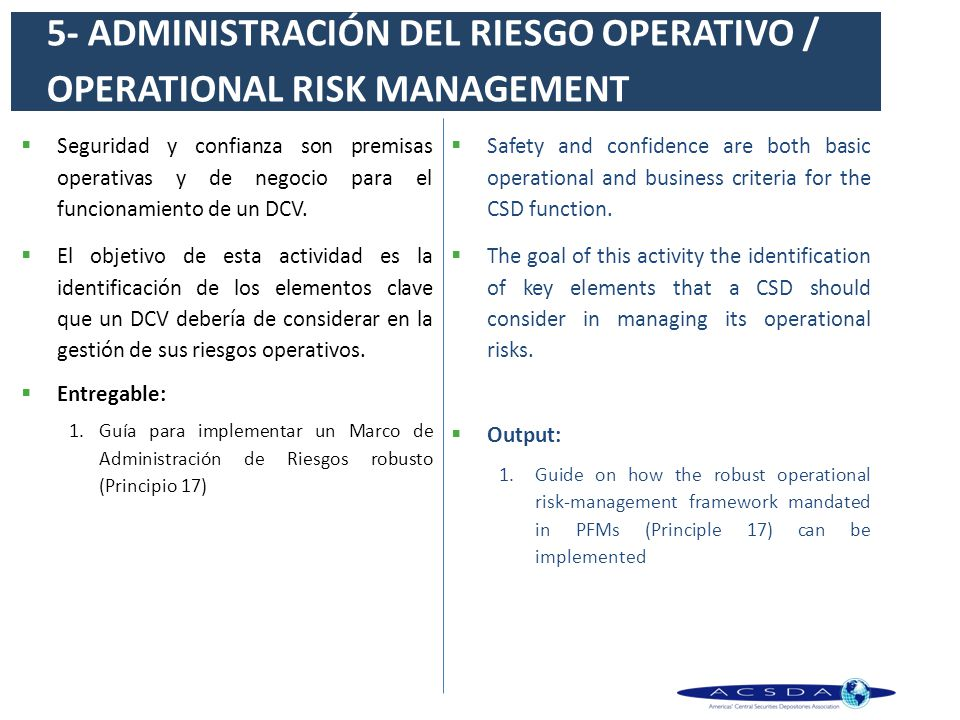 5- ADMINISTRACIÓN DEL RIESGO OPERATIVO / OPERATIONAL RISK MANAGEMENT
