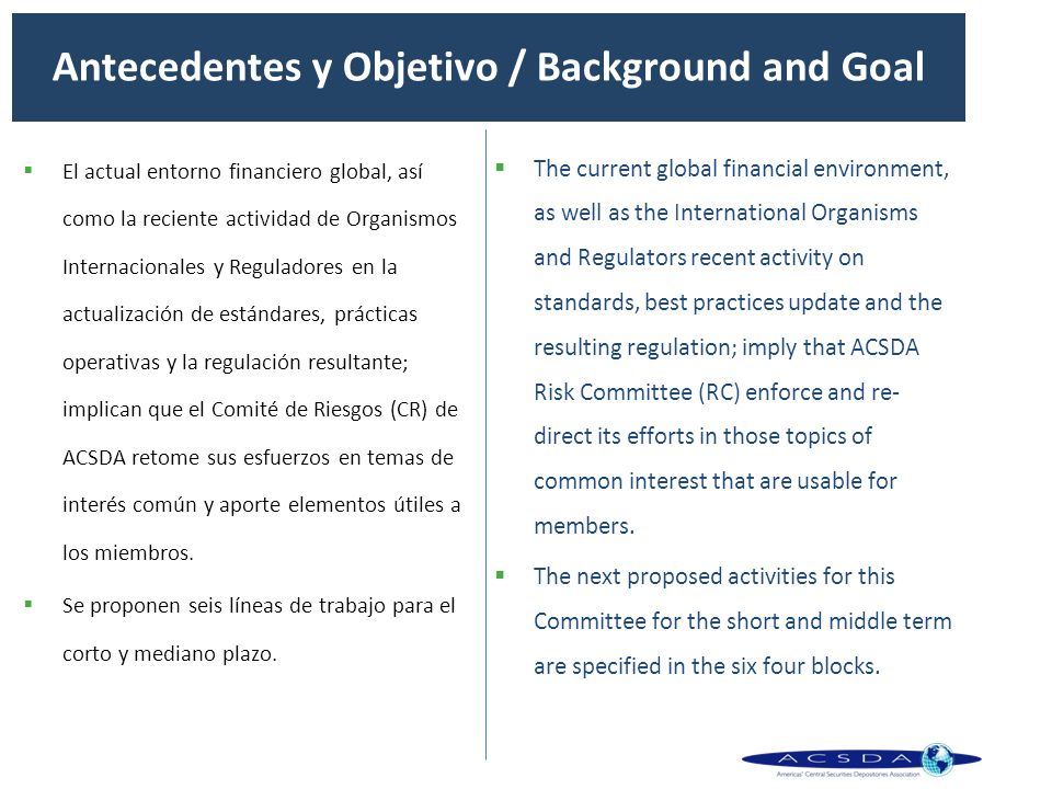 Antecedentes y Objetivo / Background and Goal