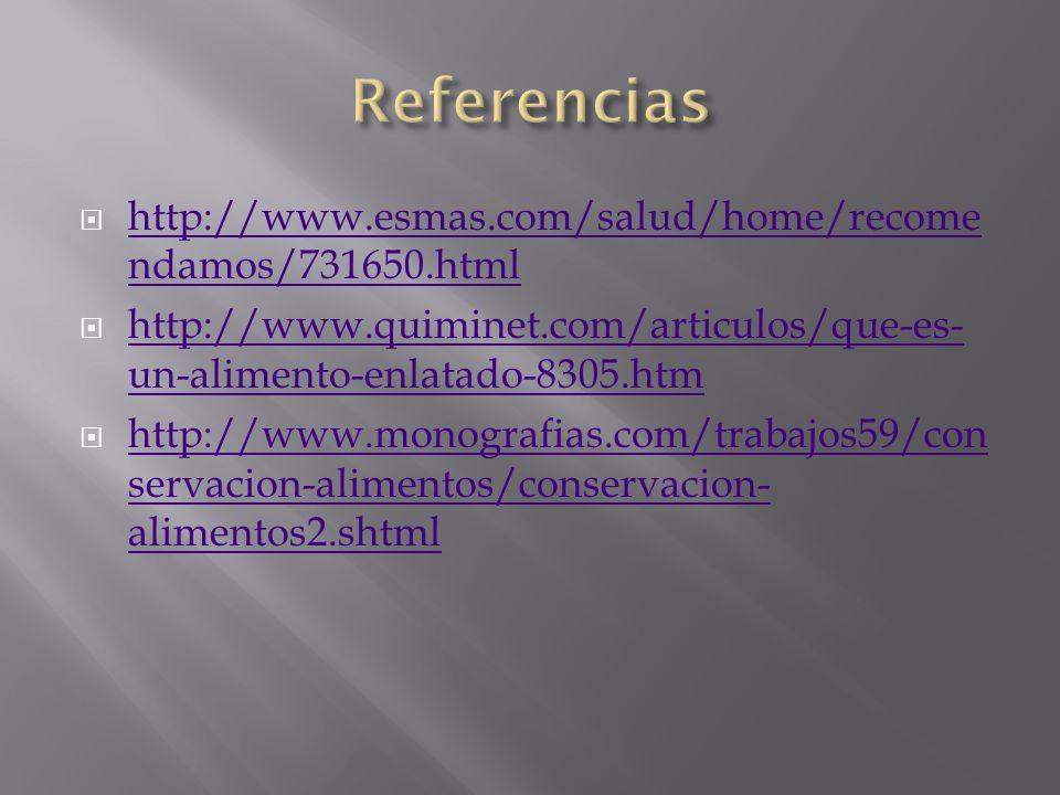 Referencias http://www.esmas.com/salud/home/recomendamos/731650.html