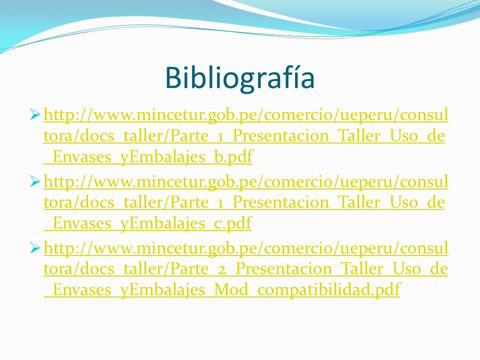 Bibliografía http://www.mincetur.gob.pe/comercio/ueperu/consultora/docs_taller/Parte_1_Presentacion_Taller_Uso_de_Envases_yEmbalajes_b.pdf.