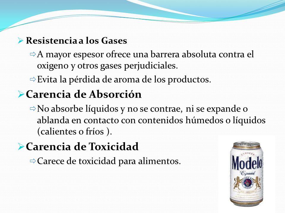 Carencia de Absorción Carencia de Toxicidad Resistencia a los Gases