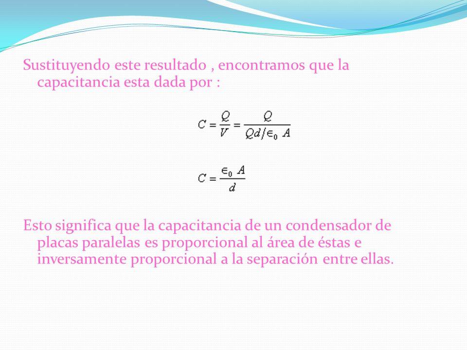 Sustituyendo este resultado , encontramos que la capacitancia esta dada por : Esto significa que la capacitancia de un condensador de placas paralelas es proporcional al área de éstas e inversamente proporcional a la separación entre ellas.
