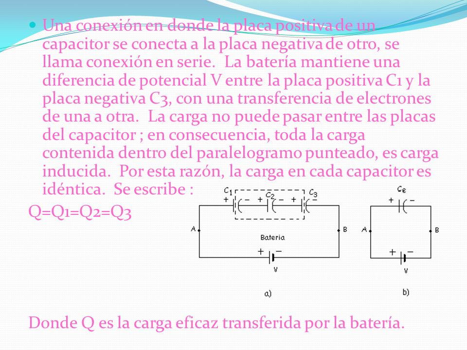 Una conexión en donde la placa positiva de un capacitor se conecta a la placa negativa de otro, se llama conexión en serie. La batería mantiene una diferencia de potencial V entre la placa positiva C1 y la placa negativa C3, con una transferencia de electrones de una a otra. La carga no puede pasar entre las placas del capacitor ; en consecuencia, toda la carga contenida dentro del paralelogramo punteado, es carga inducida. Por esta razón, la carga en cada capacitor es idéntica. Se escribe :