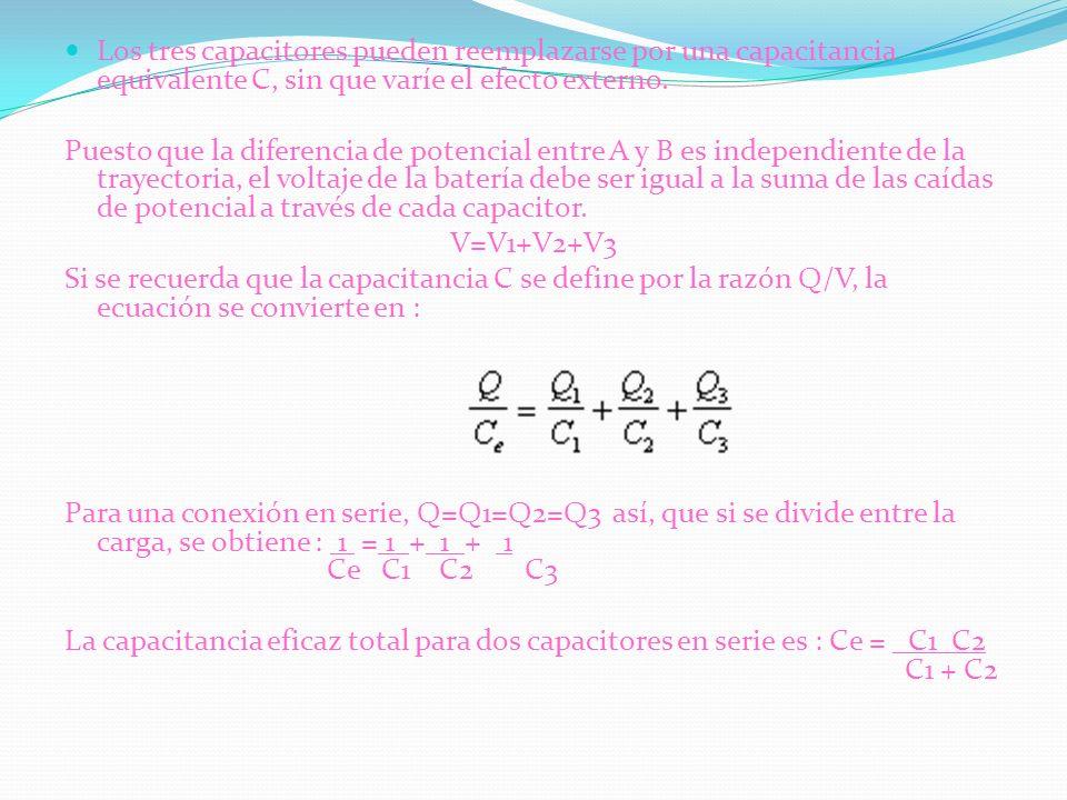 Los tres capacitores pueden reemplazarse por una capacitancia equivalente C, sin que varíe el efecto externo.